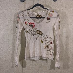 Anthropologie Guinevere Floral V-Neck Smock Waist